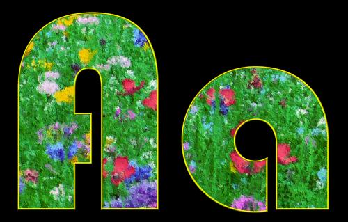 ir laiškas,abėcėlė,šrifto,pavasaris,pieva,gėlės,spalvos