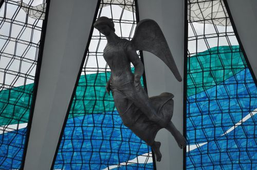 angel sculpture stained glass