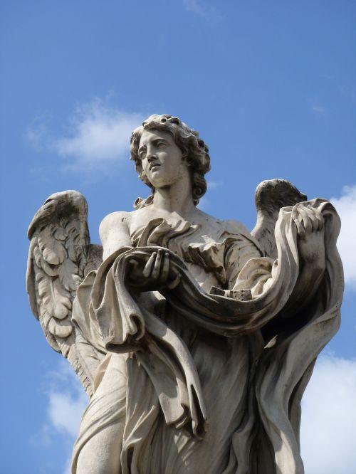 angelas,statula,Roma,sparnas,skulptūra,figūra,menas,kubas,castel santangelo,romėnų,akmens figūra