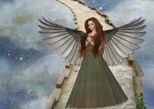 angelas, fantazija, debesys, gražus, iliustracija, sparnai, angelo fantazija debesyse