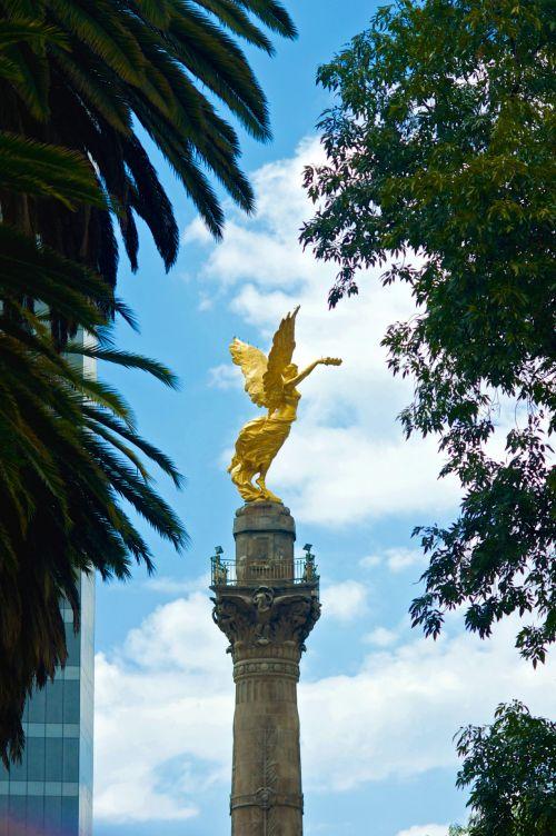 angelas & nbsp, statula, auksas, nepriklausomybė & nbsp, paminklas, paminklas, Meksika, Meksika & nbsp, miestas, paminklas, Prisiminti, ženklas, Ispanija, simbolis, duoklė, angelo statulos nepriklausomybės paminklas