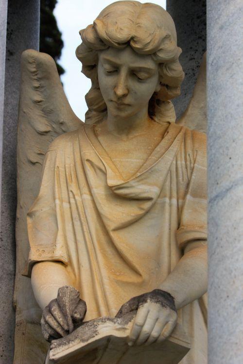 angelas, statula, rašymas, kapas, paminklas, Moteris, moteris, kapinės, gražus, lauke, stulpai, knyga, dangus, miręs, mirtis, angelo statulos rašymas 2