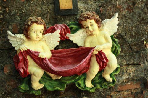 angelai & nbsp, figūrėlė & nbsp, dekoro, angelai, figūrėlė, dekoruoti, dekoracijos, du angelai, sienų & nbsp, dekoro, angelų figūrėlių dekoras