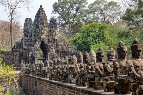 angkor tomas,angkor wat,Kambodža,šventykla,asija,Angkor,šventyklos kompleksas,istoriškai,akmens reljefas,sugadinti