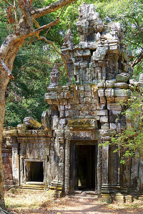 angkor wat,Kambodža,asija,šventyklos kompleksas,Angkor,šventykla,istoriškai,UNESCO pasaulio paveldas,istorija,Khmer,Siem grižti,budizmas,sugadinti,hindhuismus,architektūra,durys,Unesco,pasaulinis paveldas,angkor tomas,akmens reljefas