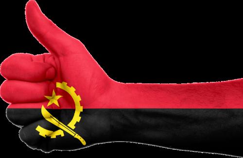 angola flag hand