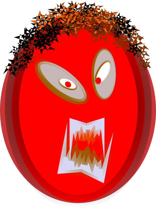 angry face head
