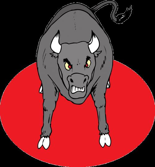angry bull horns