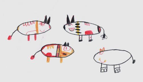 children children drawing flock