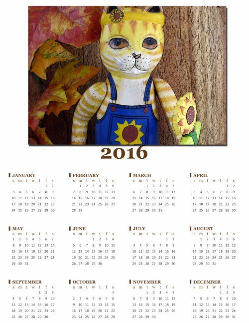 Annual 2016 Calendar Of Cat