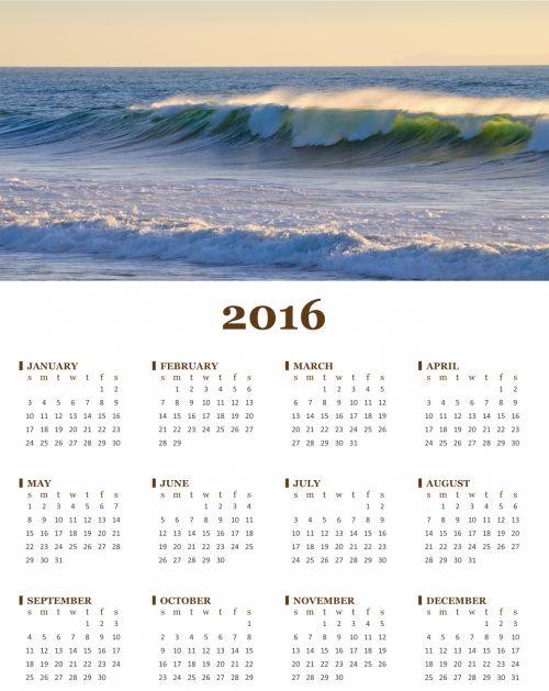 Annual 2016 Calendar Of Ocean Wave