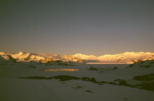 antarctic sunset glacier
