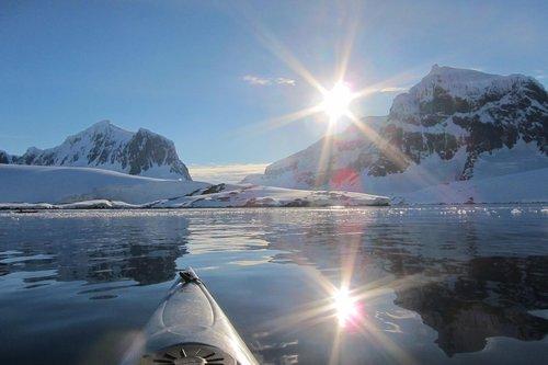 antarctic  midnight sun  kayak