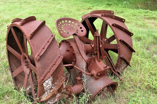 antique  rusted  farm machinery