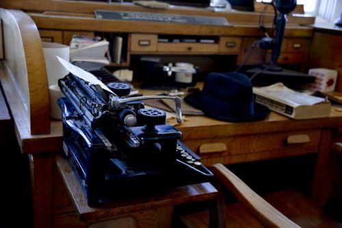 Antique Desk And Typewriter
