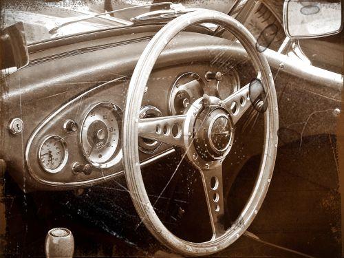 antiqued image vintage car interior