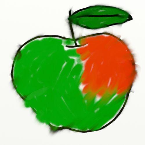 Apple Chalk Drawing