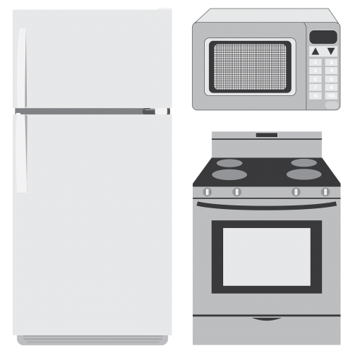appliances refrigerator microwave