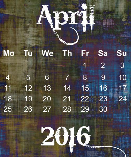April 2016 Grunge Calendar
