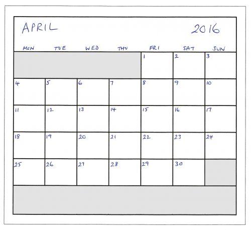 April 2016 Planner