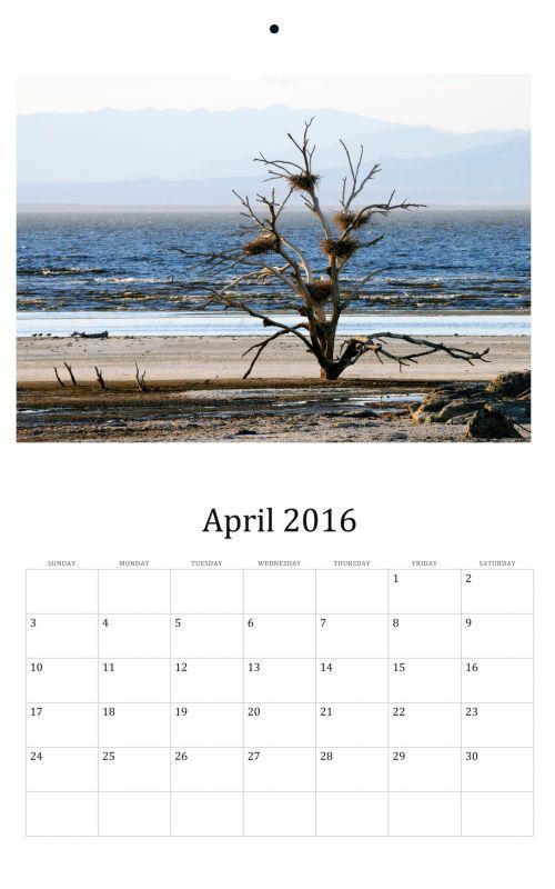 April 2016 Wall Calendar