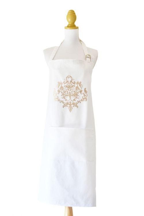 apron embroidered white