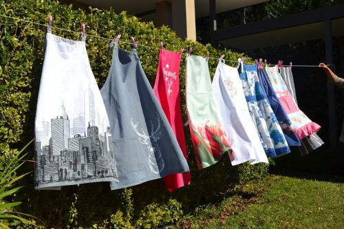 aprons washing line drying
