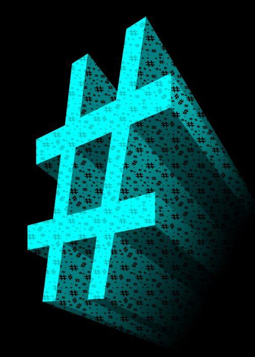 Aqua 3D Hashtag Symbol