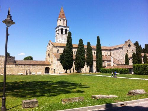 aquileia campanile cypress trees
