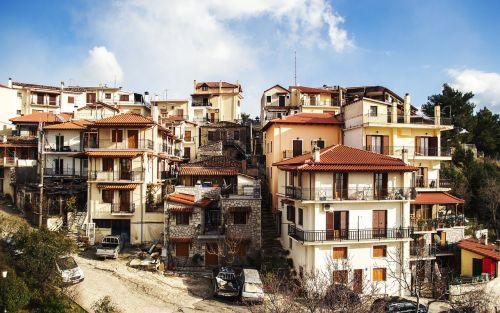 arahova greek landscape greek mountain village
