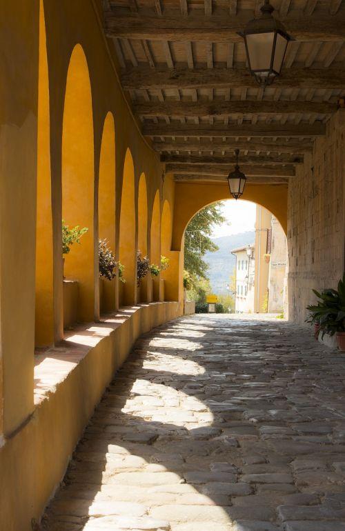 arcade,Palazzo,veranda,lankas,šešėliai,serravalle,Toskana,apšvietimas,Šalis