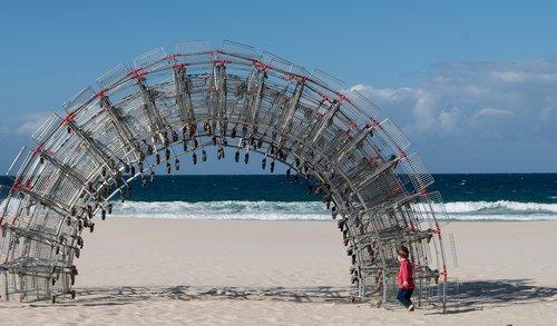 arch  sculpture  shopping trolleys
