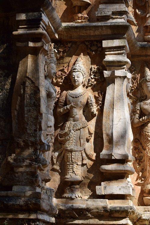 archaeological site  idol  pagoda
