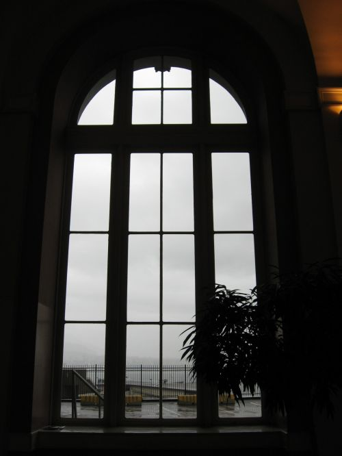 Arched Window Rainy Day