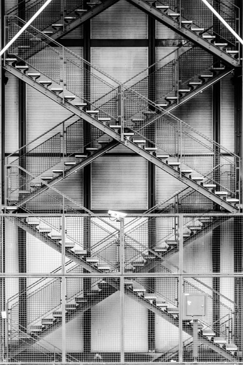architecture stairs steel