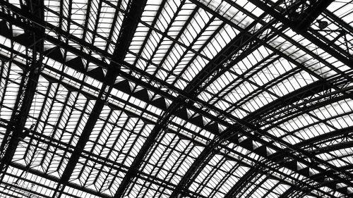 architektūra,stogas,plieno konstrukcija,struktūros,plieninės sijos,industrija,salė,stogo konstrukcija,pastatas,stiklas,traukinių stotis