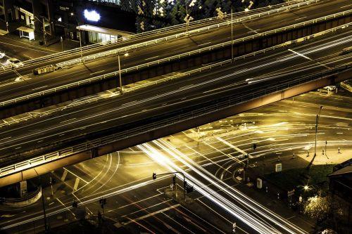 architecture city light streaks