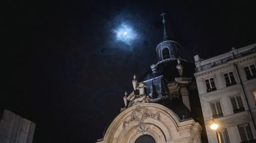 architecture,building,infrastructure,dark,night,sky,moon,light,church