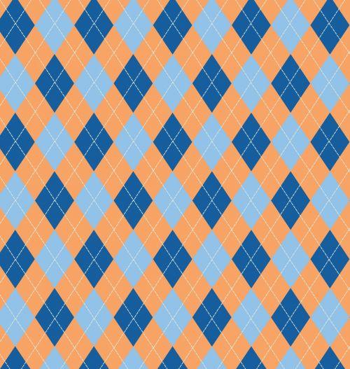 Argyle Pattern Blue Orange