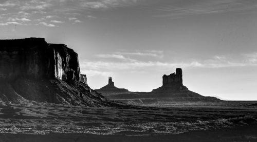 Arizona, dykuma, kraštovaizdis, akmenys, juoda & nbsp, balta, kalnai, Laisvas, viešasis & nbsp, domenas, šepetys, izoliuotas, nevaisinga, paminklas & nbsp, slėnis, siluetas, siluetuotos, Arizonos paminklo slėnis