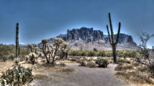 Arizona, kalnas, dykuma, prietarai & nbsp, kalnas, kalnai, hdr, kraštovaizdis, kaktusas, kaktusai, Saguaro, kelias, kelionė, Arizona kalnas