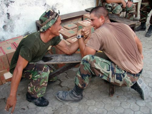 arm wrestling military men fun