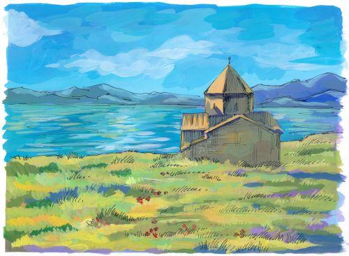 armenia lake sevan church