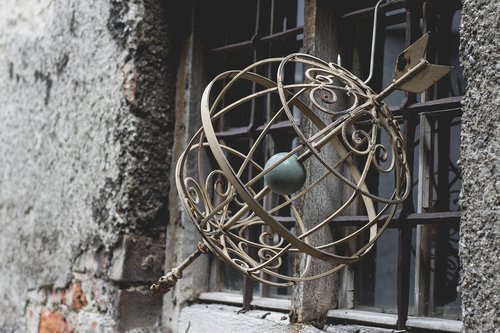 armillary sphere  globe  arrow