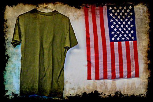 vėliava, amerikiečių & nbsp, vėliava, armija, kariuomenė, žalias, Grunge, armijos tee ir amerikietiška vėliava