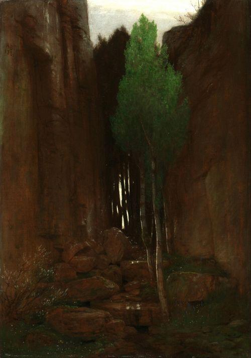 arnold bocklin,dažymas,menas,aliejus ant drobės,gamta,lauke,medis,kanjonas,uraganas,kalnas