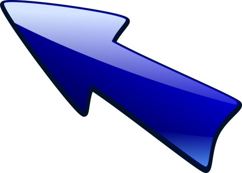 arrow arrow pointing up left blue