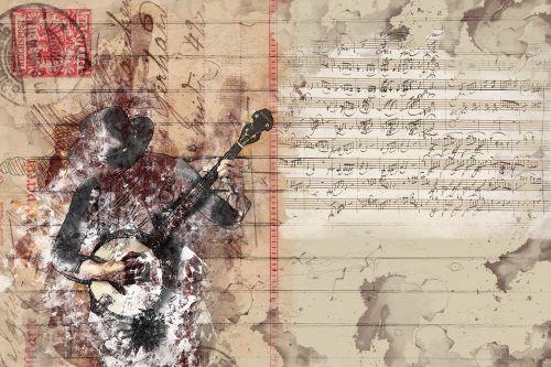 menas,koliažas,dizainas,spalvinga,spalva,abstraktus,dažymas,fantazija,meniškai,grafika,banjo,muzikinis instrumentas,banjo žaidėjas,muzikantas,styginis instrumentas