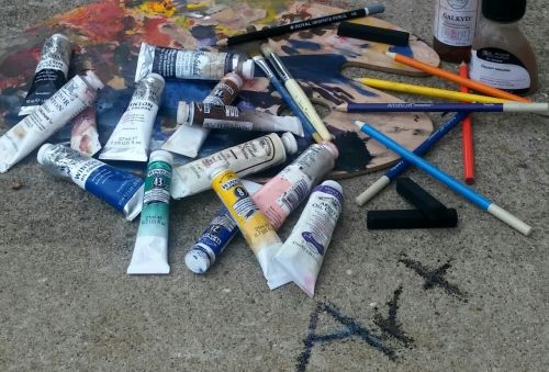 art oil paint charcoal sticks
