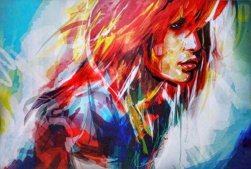 menas,dažymas,Lady,moteris,mergaitė,galva,pečiai,spalvinga